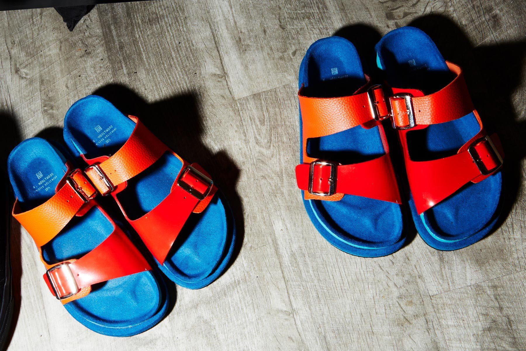 Brightly colored sandals photographed backstage at the N. Hoolywood Spring 2019 menswear show. Photographed by Alexander Thompson for Ponyboy magazine.