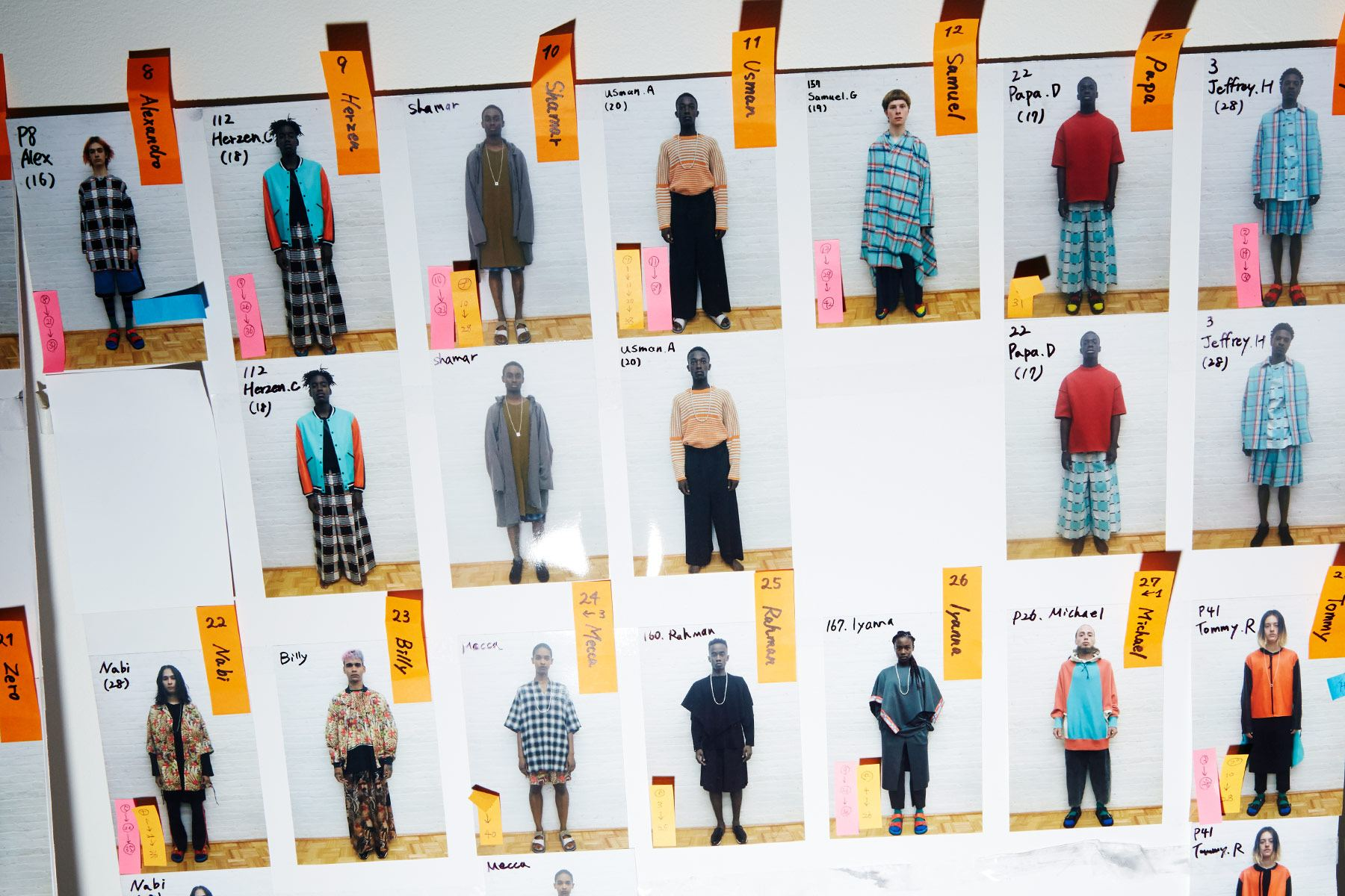 Men's looks board backstage at N. Hoolywood for Spring 2019. Ponyboy magazine.