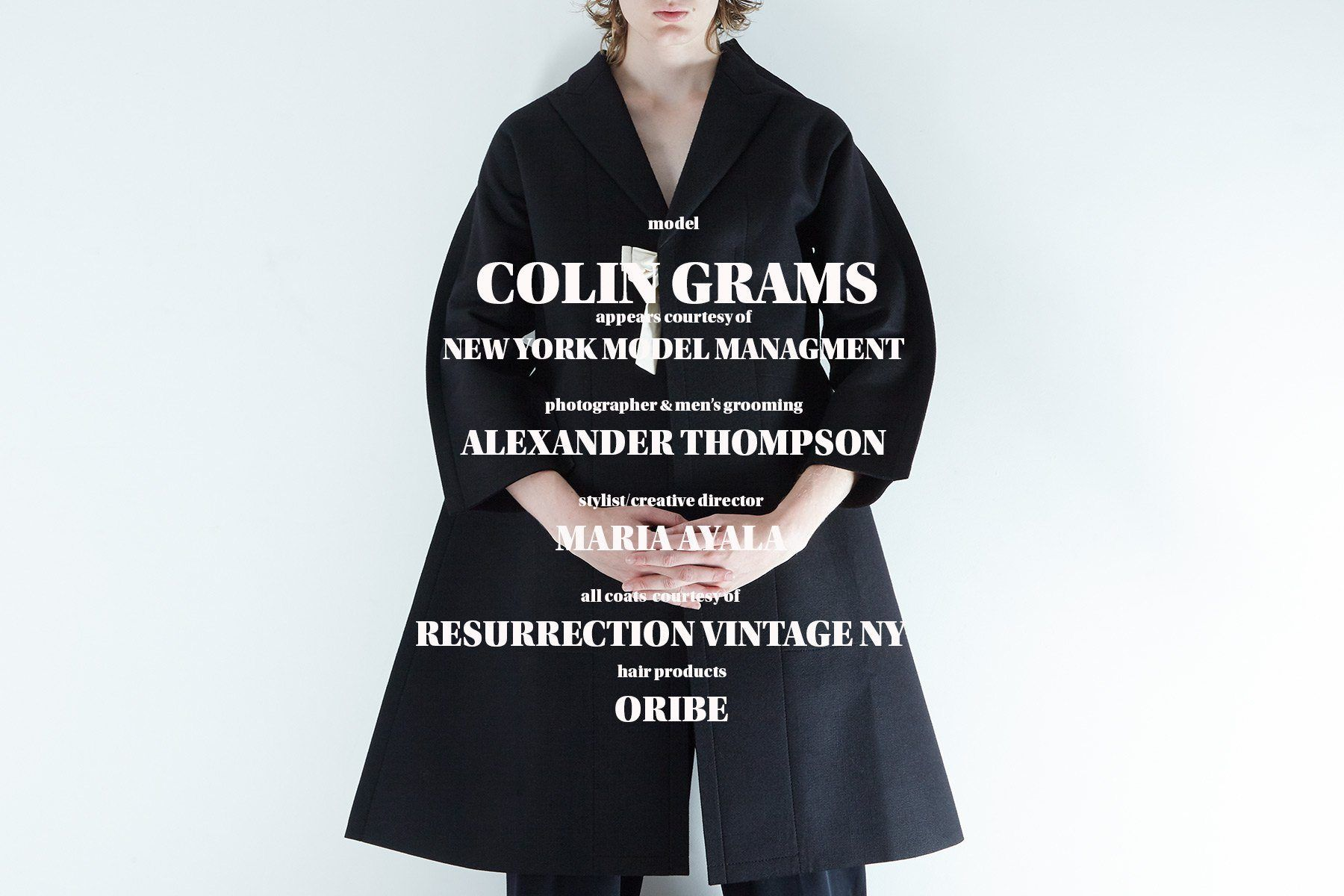 Credits for menswear coat editorial with model Colin Grams, Ponyboy magazine.