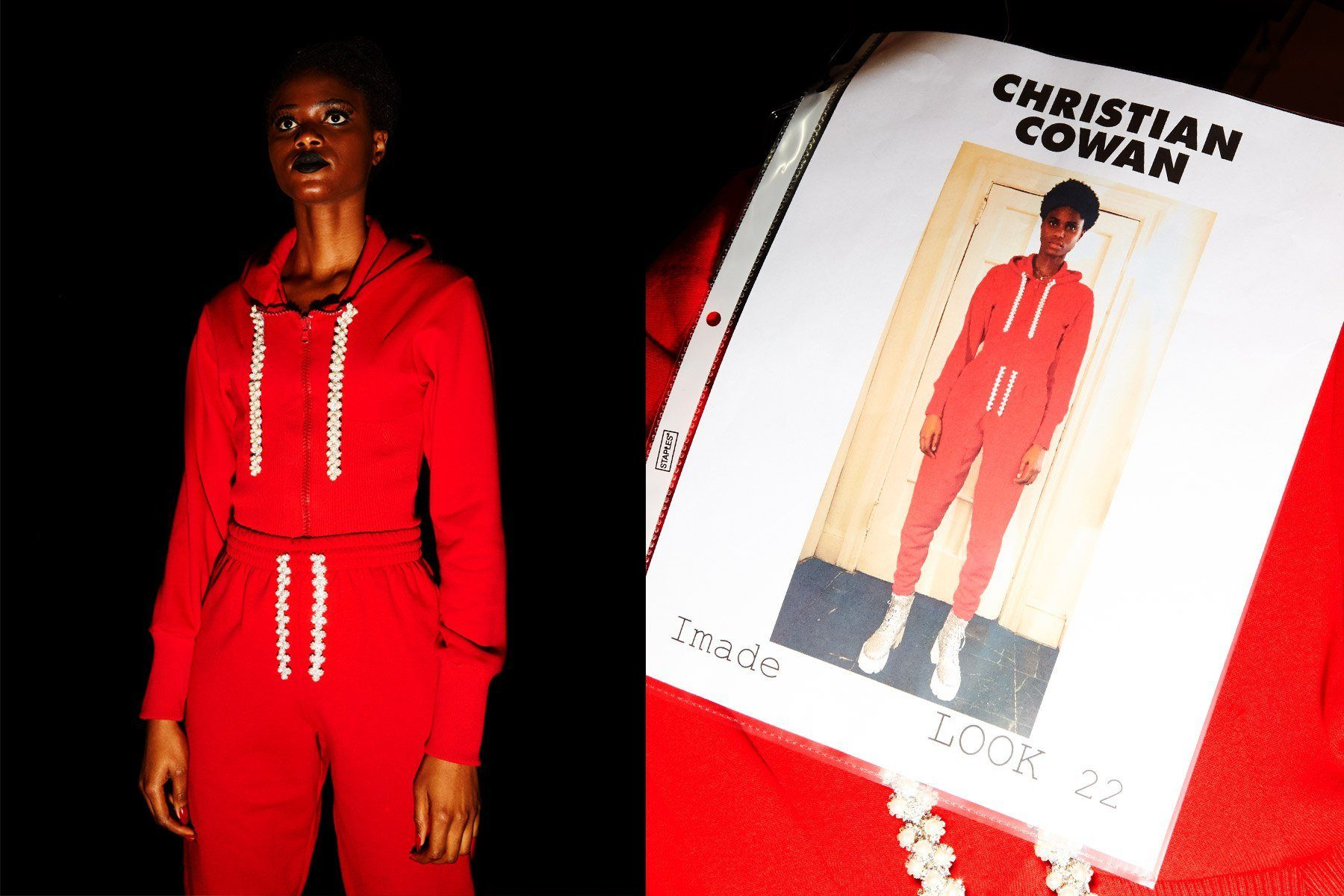 Model Imade Ogebewi snapped backstage at Christian Cowan for Spring/Summer 2019. Photography by Alexander Thompson for Ponyboy magazine.