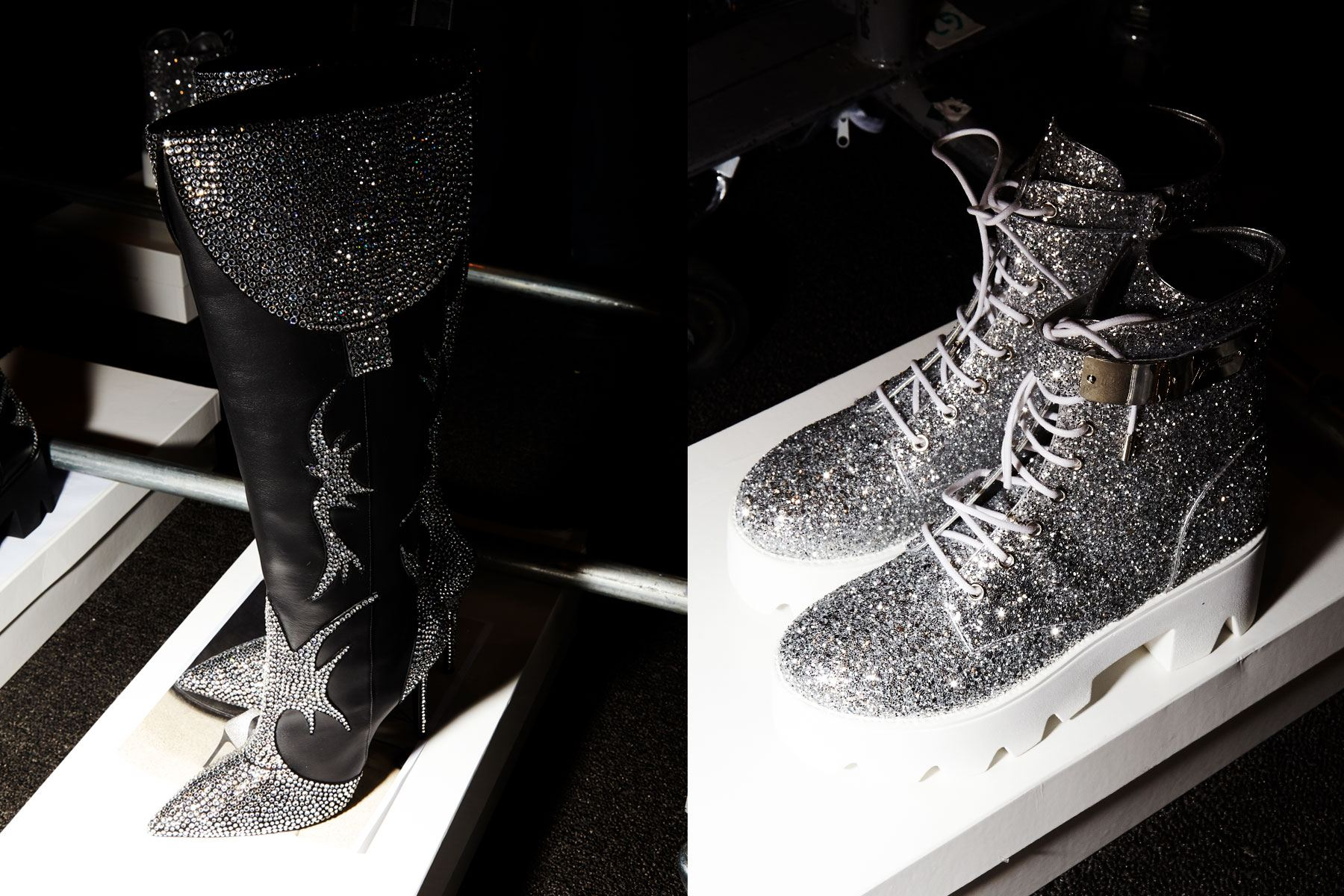 Glitter Giuseppe Zanotti boots backstage at Christian Cowan for Spring/Summer 2019. Photography by Alexander Thompson for Ponyboy magazine.