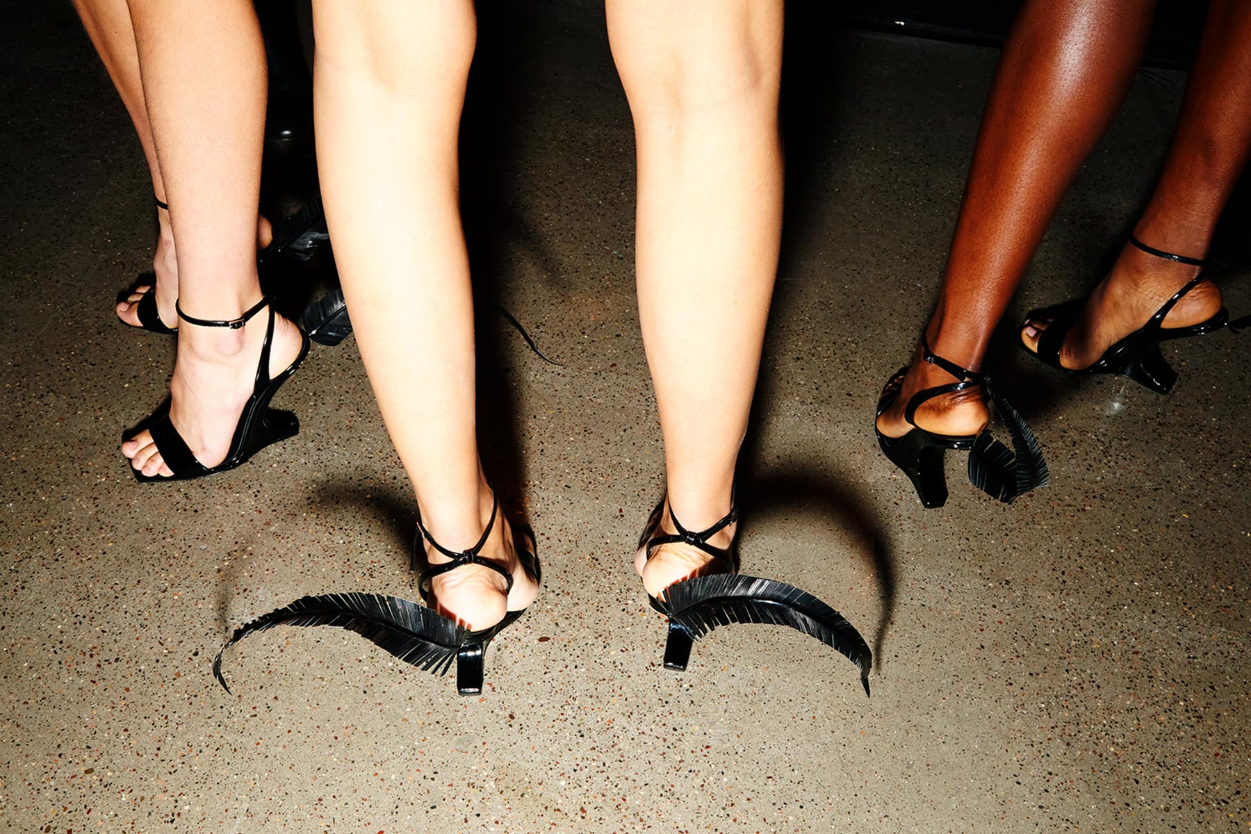 Boomerang/feather Giuseppe Zanotti heels backstage at Christian Cowan for Spring/Summer 2019. Photography by Alexander Thompson for Ponyboy magazine.