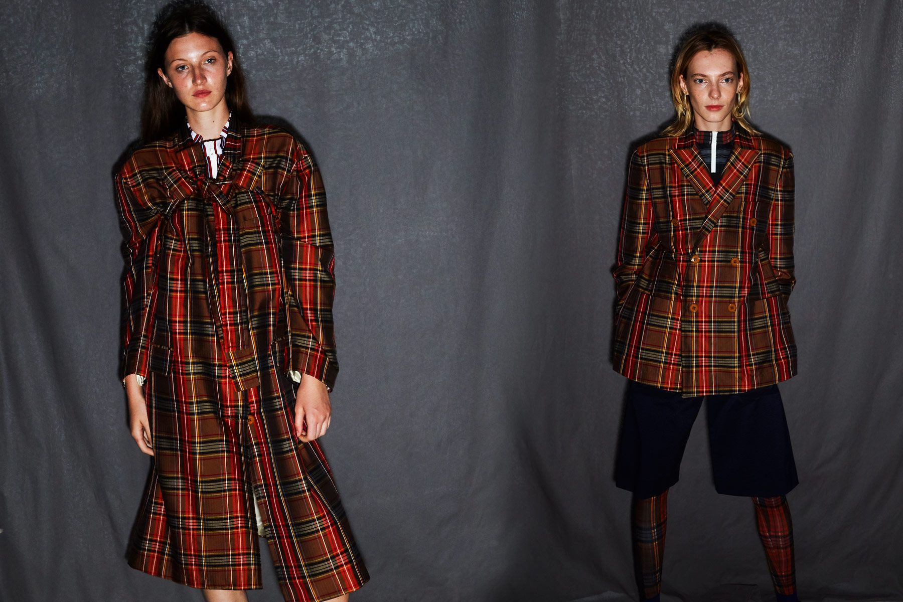 Red plaid looks from the Linder Spring/Summer 2019 collection, photographed by Alexander Thompson for Ponyboy magazine.