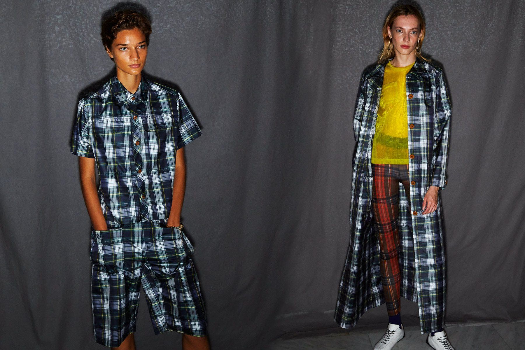 Plaid looks from the Linder Spring/Summer 2019 collection, photographed by Alexander Thompson for Ponyboy magazine.