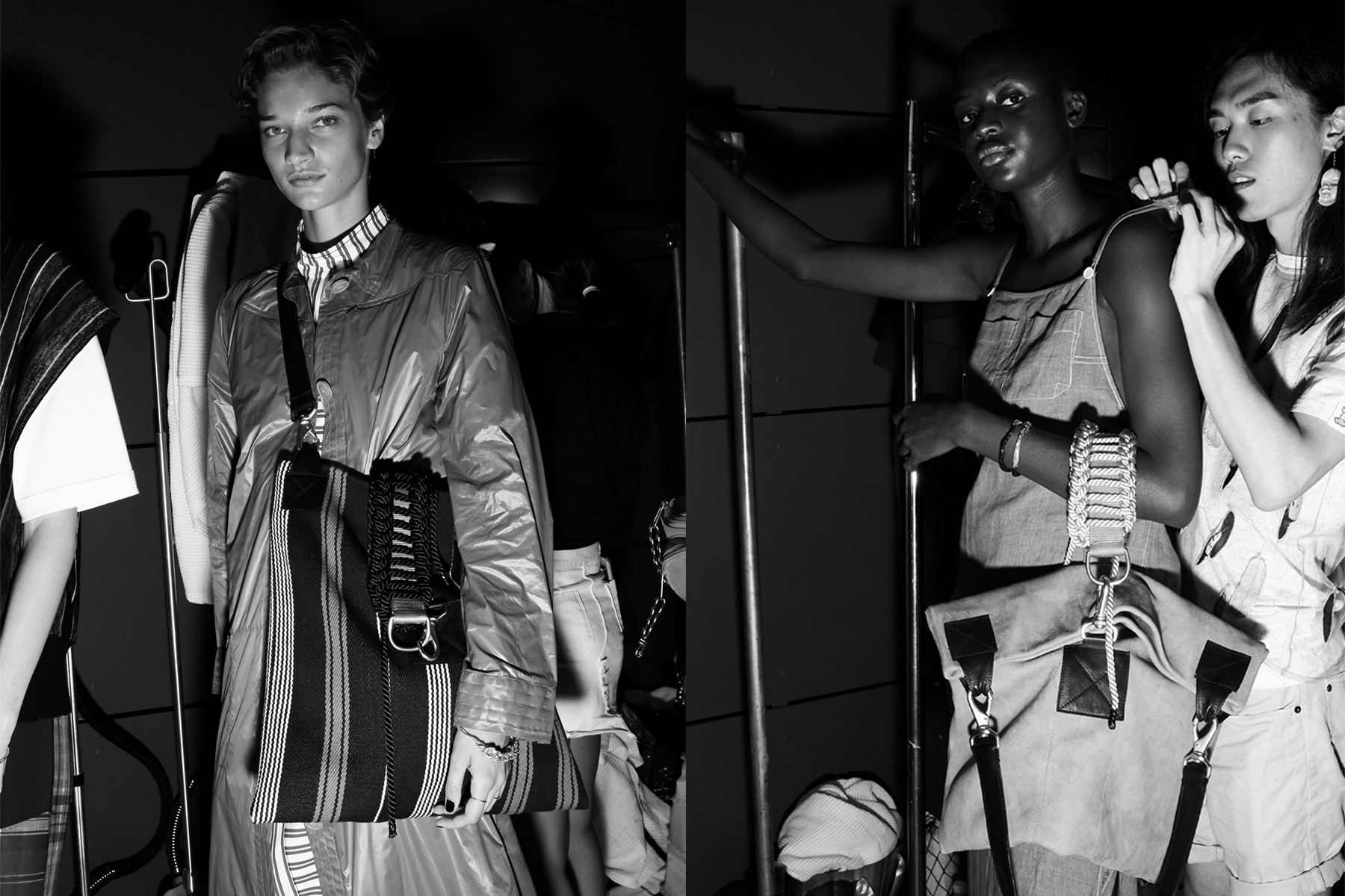 Backstage dressing for womenswear collection from Linder Spring/Summer 2019 show, photographed by Alexander Thompson for Ponyboy magazine.
