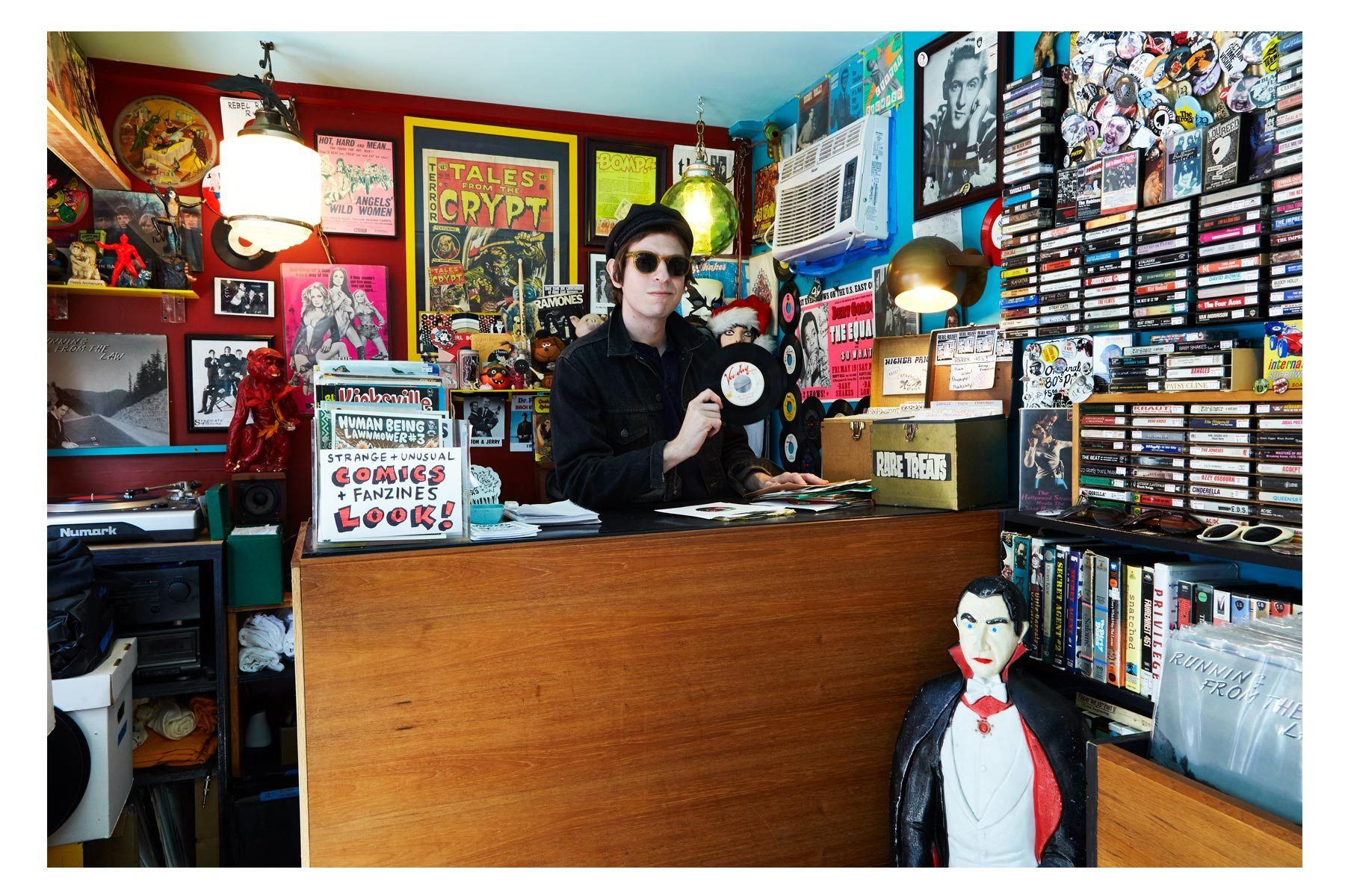Portrait of artist Avi Spivak at Rebel Rouser records by Alexander Thompson for Ponyboy magazine.