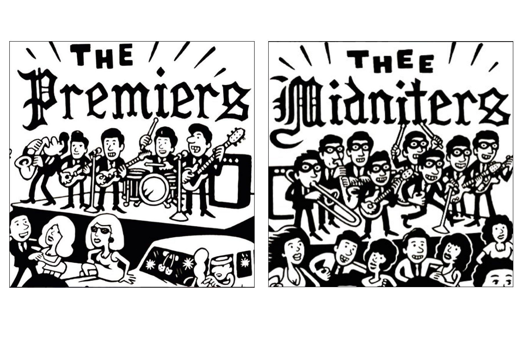 Band drawings by artist Avi Spivak. Ponyboy magazine.