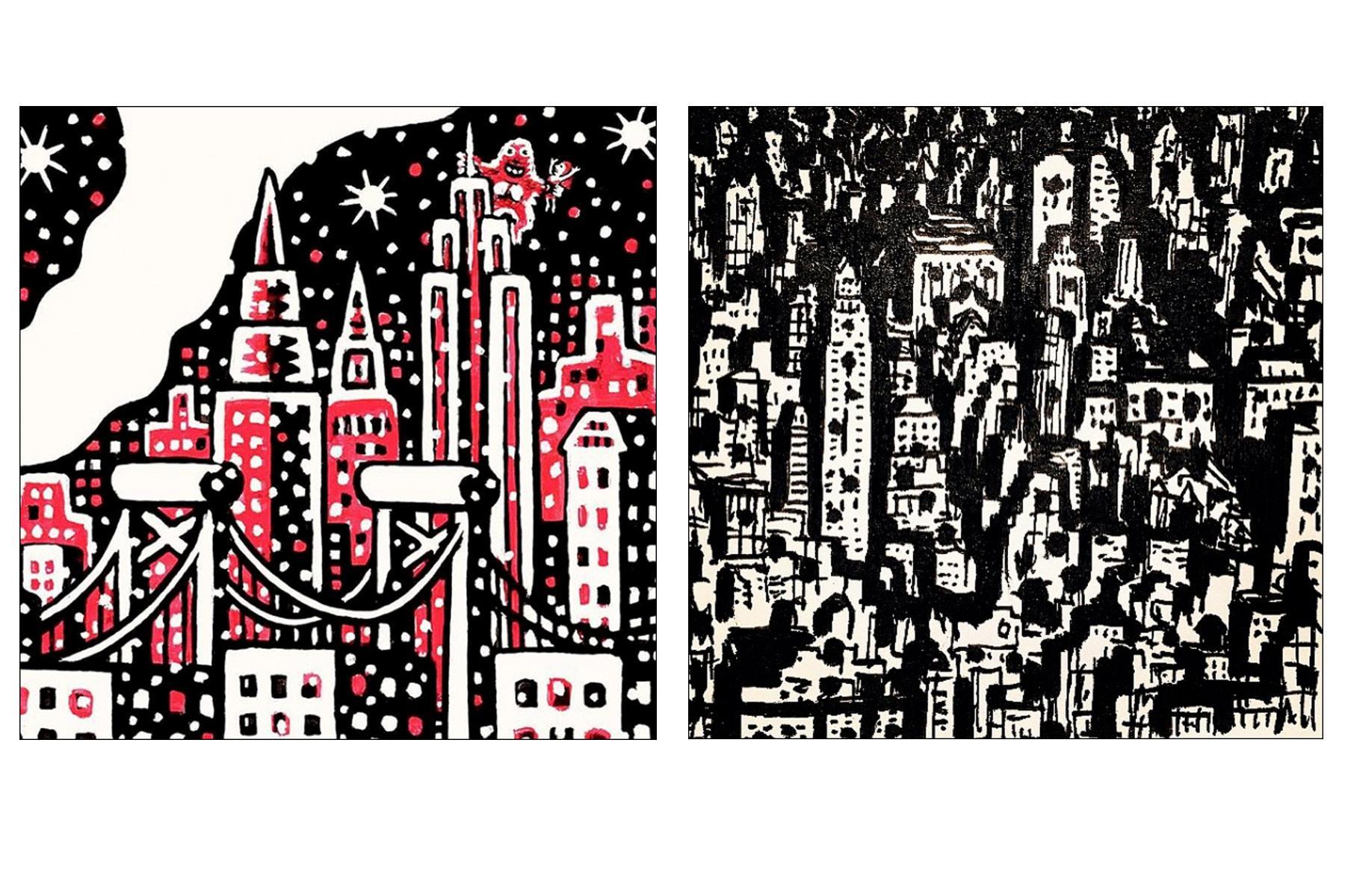 Cityscapes by artist Avi Spivak. Ponyboy magazine.