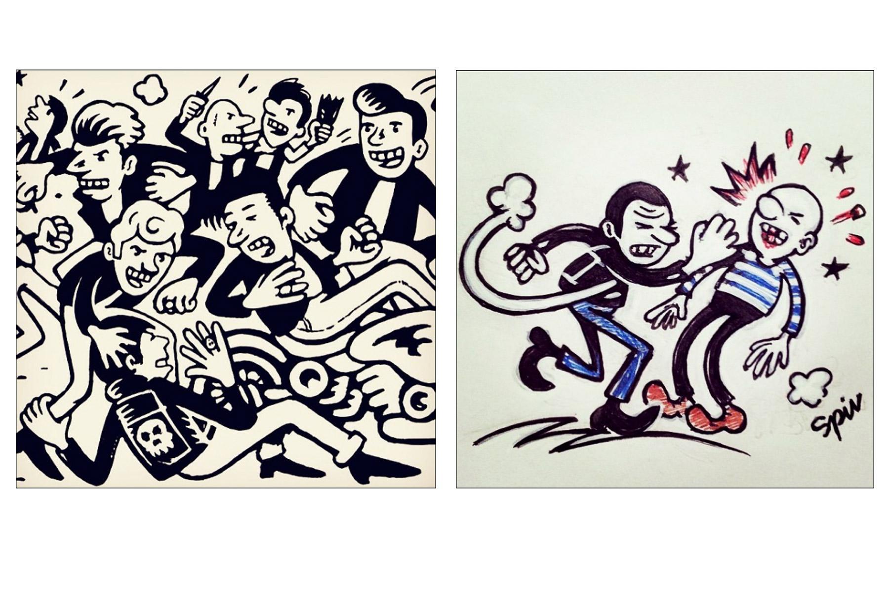 Drawings of men fighting by artist Avi Spivak. Ponyboy magazine.