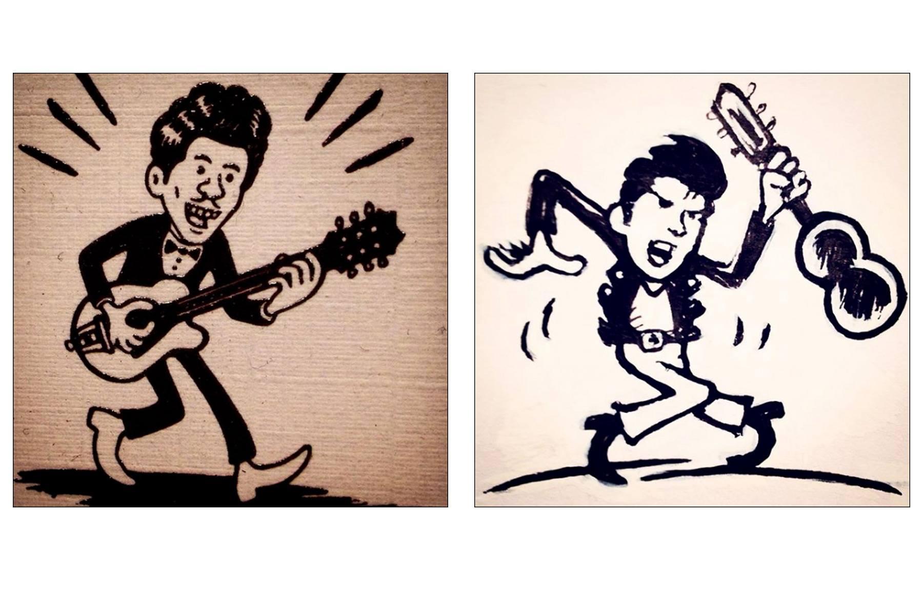 Chuck Berry drawing by Avi Spivak. Ponyboy magazine.