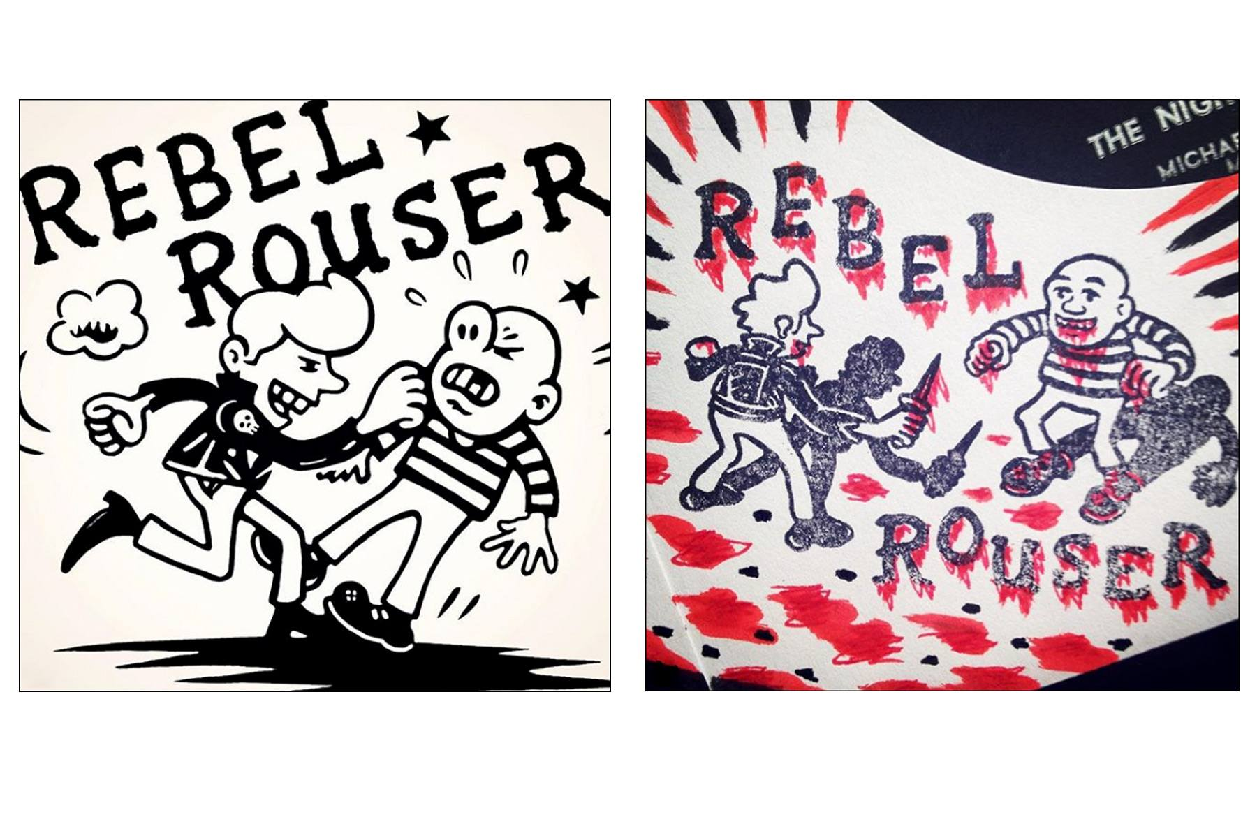 Rebel Rouser record store drawings by NYC artist Avi Spivak. Ponyboy magazine.