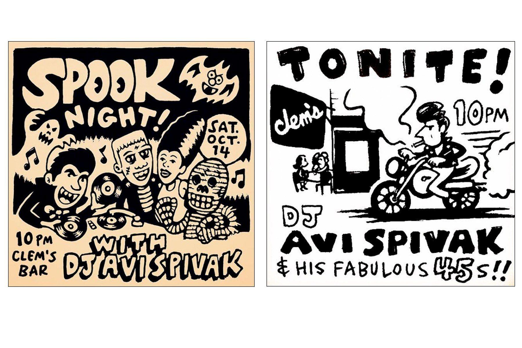 Clem's Bar flyers by artist Avi Spivak. Ponyboy magazine.