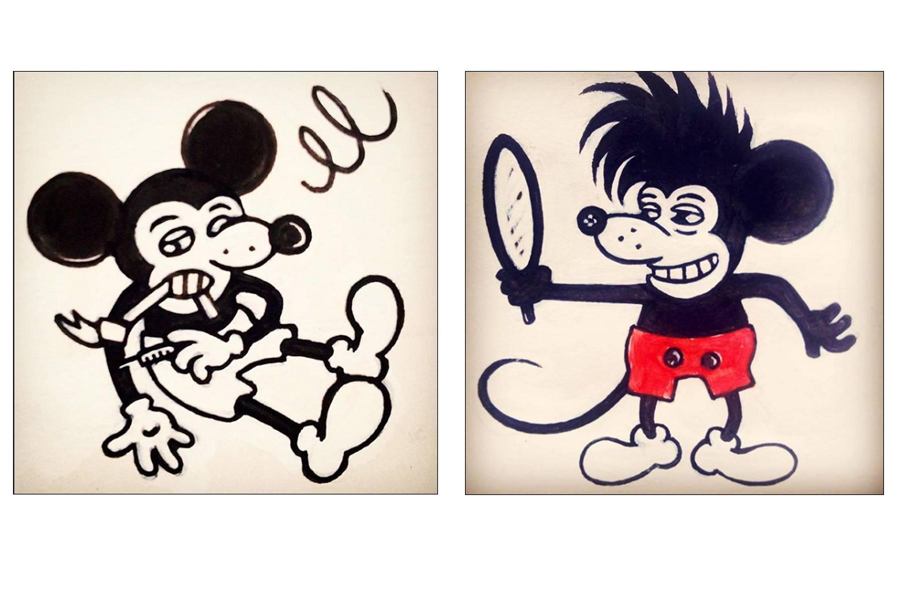 Mickey Mouse drawings by artist Avi Spivak. Ponyboy magazine.