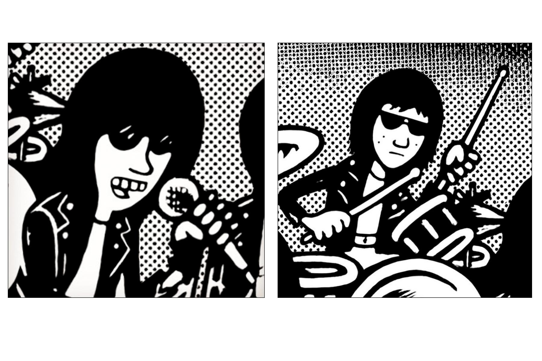 Ramones drawings by artist Avi Spivak. Ponyboy magazine.