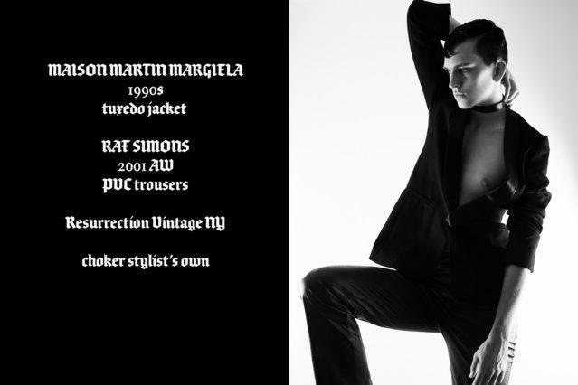 Model Brian Cunningham wears vintage Maison Martin Magiela & Raf Simons, photographed for Ponyboy magazine by Alexander Thompson.