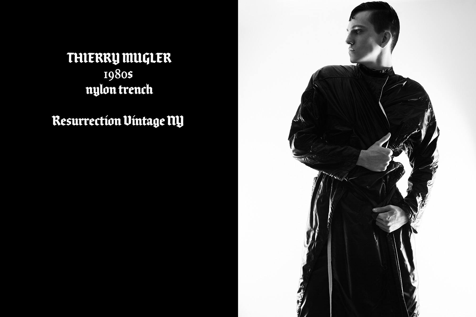 Model Brian Cunningham wears vintage Thierry Mugler, photographed by Alexander Thompson for Ponyboy magazine.