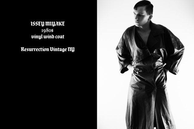 Model Brian Cunningham wears vintage Issey Miyake, photographed by Alexander Thompson for Ponyboy magazine.