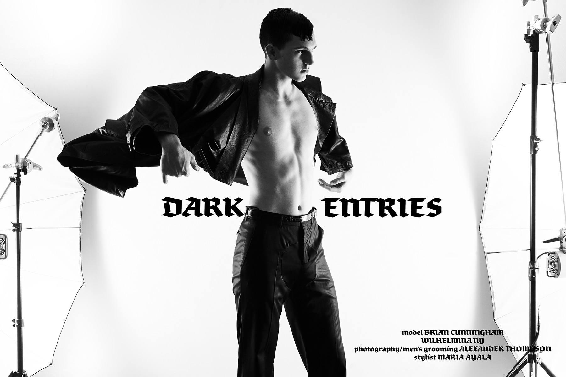 Dark Entries. Wilhelmina model Brian Cunningham photographed by Alexander Thompson for Ponyboy magazine.