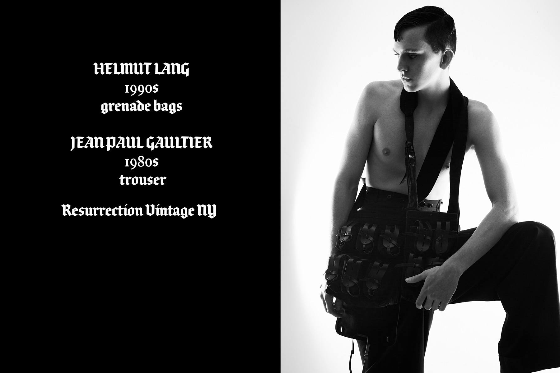 Model Brian Cunningham photographed with vintage Helmut Lang grenade bags by Alexander Thompson for Ponyboy magazine.