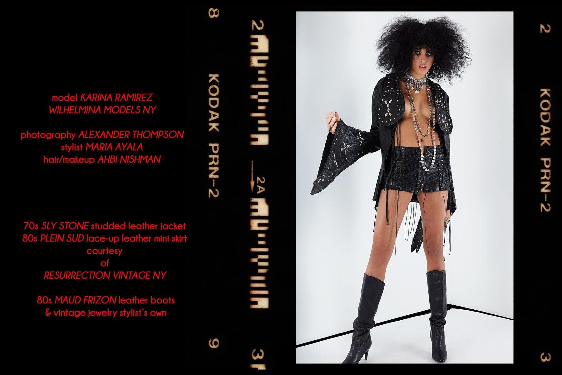 Model Karina Ramirez photographed in a vintage Sly Stone studded leather jacket for Ponyboy magazine by Alexander Thompson.
