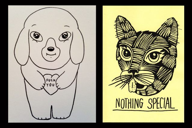 Drawings of animals by Pacolli. Ponyboy magazine.
