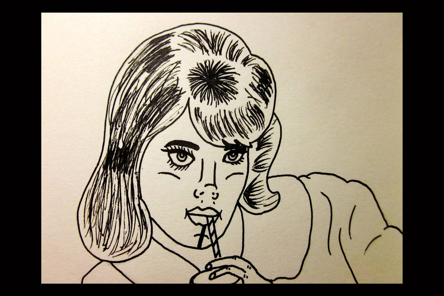 Drawing of a young girl by Pacolli. Ponyboy magazine.