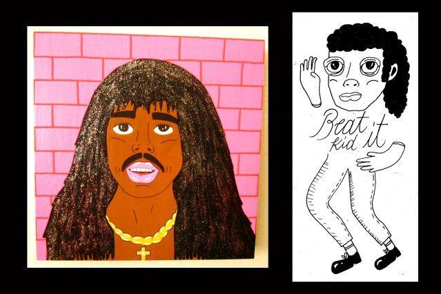 Rick James and Michael Jackson drawings courtesy of Pacolli. Ponyboy magazine.