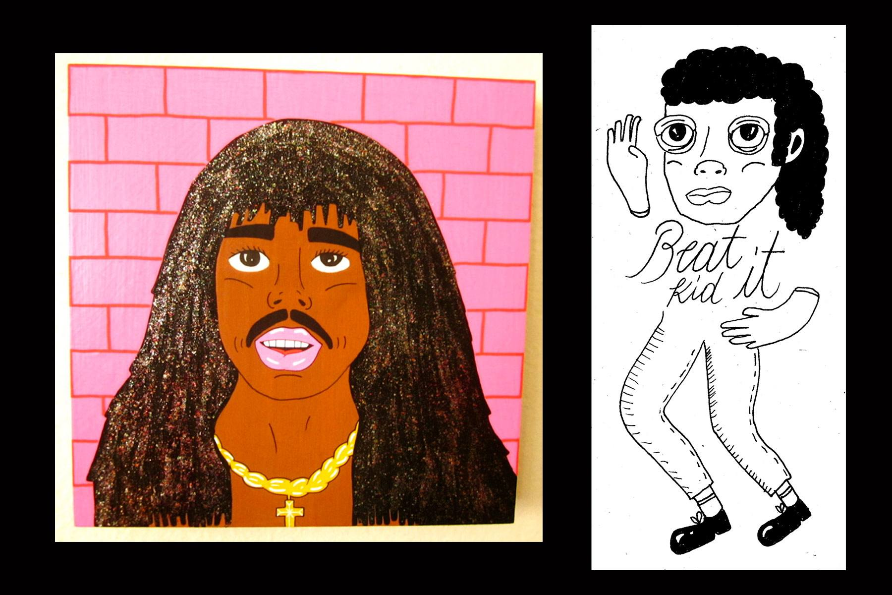 Rick James and Michael Jackson drawings courtesy of Pacolli. Ponyboy magazine.