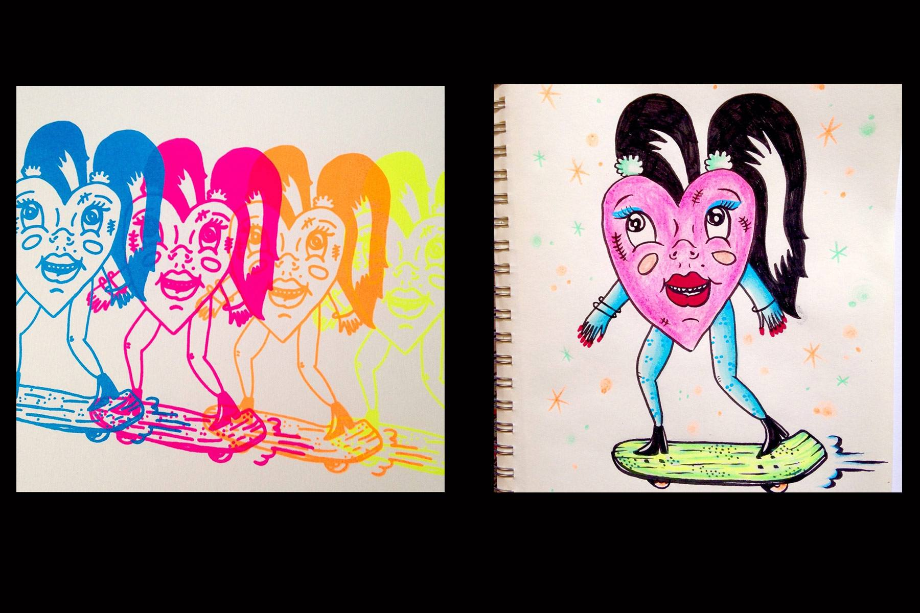 Drawings of colorful hearts by Pacolli. Ponyboy magazine.