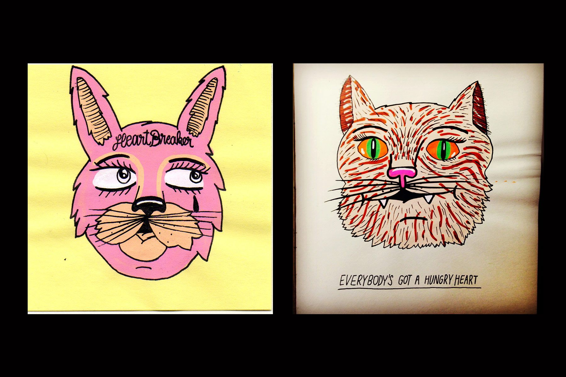 Drawings of a rabbit and cat by Pacolli. Ponyboy magazine.