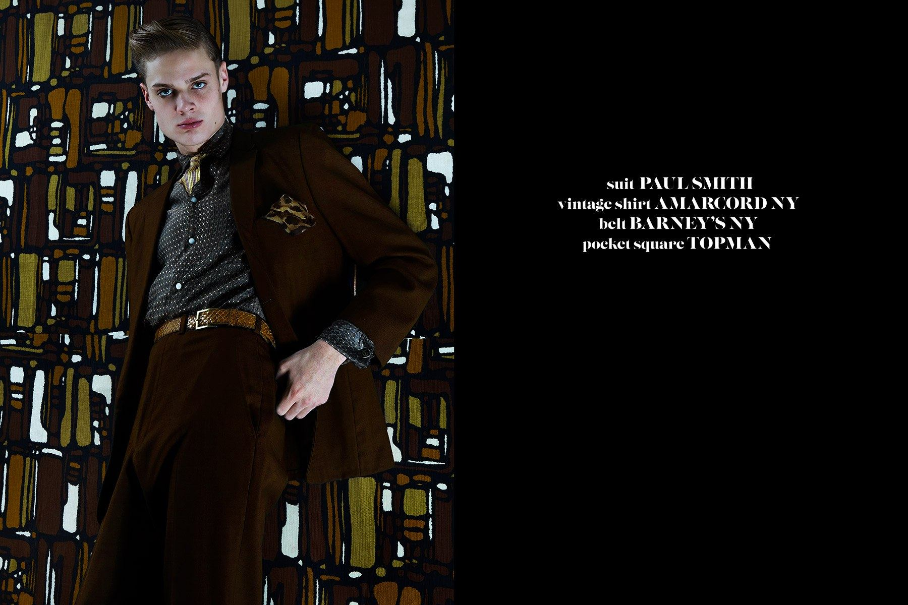 Model Jake Lauria in Paul Smith for Ponyboy magazine 50s menswear editorial. Photography by Alexander Thompson.
