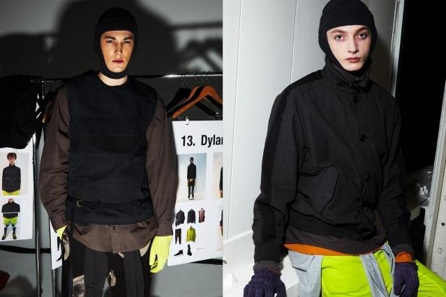 Male models Julian Weigl & Joshua Van Fossen photographed backstage at Robert Geller Autumn/Winter 2019 menswear show. Photography by Alexander Thompson for Ponyboy magazine