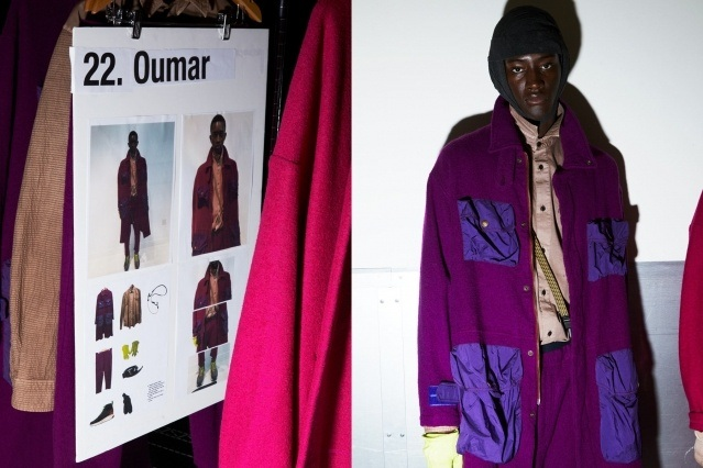 Male model Oumar Diouf photographed backstage at Robert Geller Autumn/Winter 2019 show. Photography by Alexander Thompson for Ponyboy magazine.