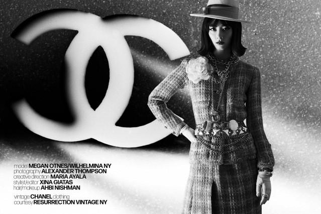 Wilhelmina NY model Megan Otnes in vintage Chanel for Ponyboy magazine. Photography by Alexander Thompson.