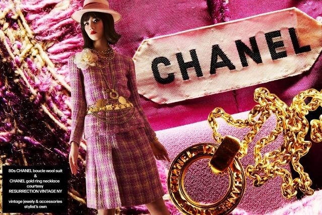Model Megan Otnes from the Wilhelmina agency wears vintage Chanel for Ponyboy magazine. Photography by Alexander Thompson.