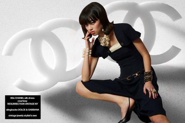 Model Megan Otnes from Wilhelmina wears vintage Chanel for Ponyboy magazine. Photography by Alexander Thompson.