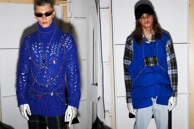Male model Joao Knorr & Rio Thake photographed backstage at Peacebird A/W 2019 show by Alexander Thompson for Ponyboy magazine.