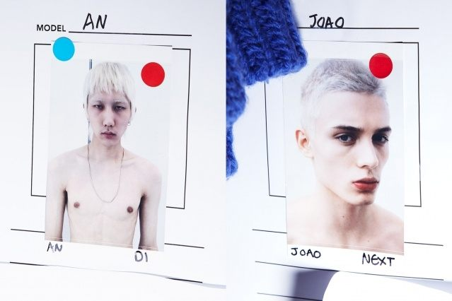 Photographs of male models Joao Knorr backstage at Peacebird for A/W 2019. Ponyboy magazine.