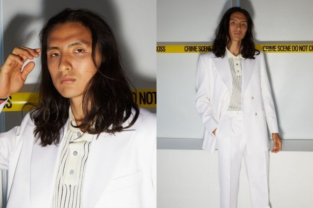 A male model snapped backstage at the David Hart for Spring 2020 presentation. Photography by Alexander Thompson for Ponyboy magazine.