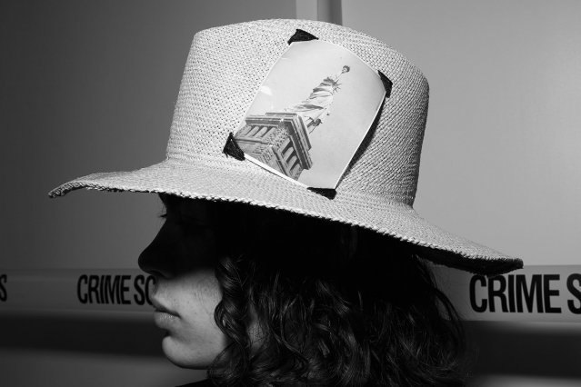 Hat by designer Rod Keenan NY, backstage at David Hart for Spring 2020. Photography by Alexander Thompson for Ponyboy magazine.