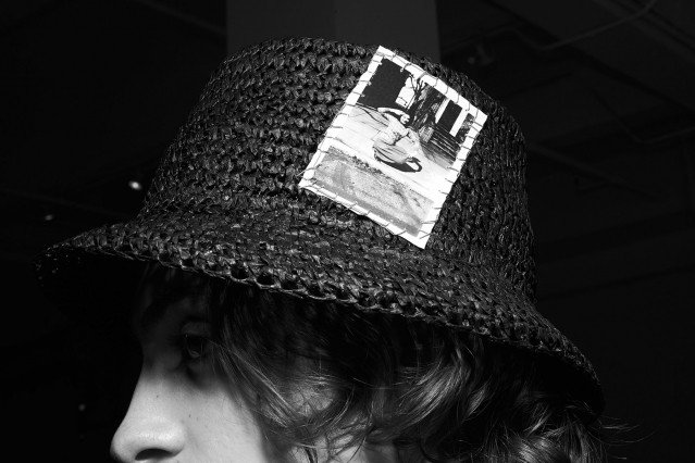 Hat by designer Rod Keenan, backstage at David Hart for Spring 2020. Photography by Alexander Thompson for Ponyboy magazine.