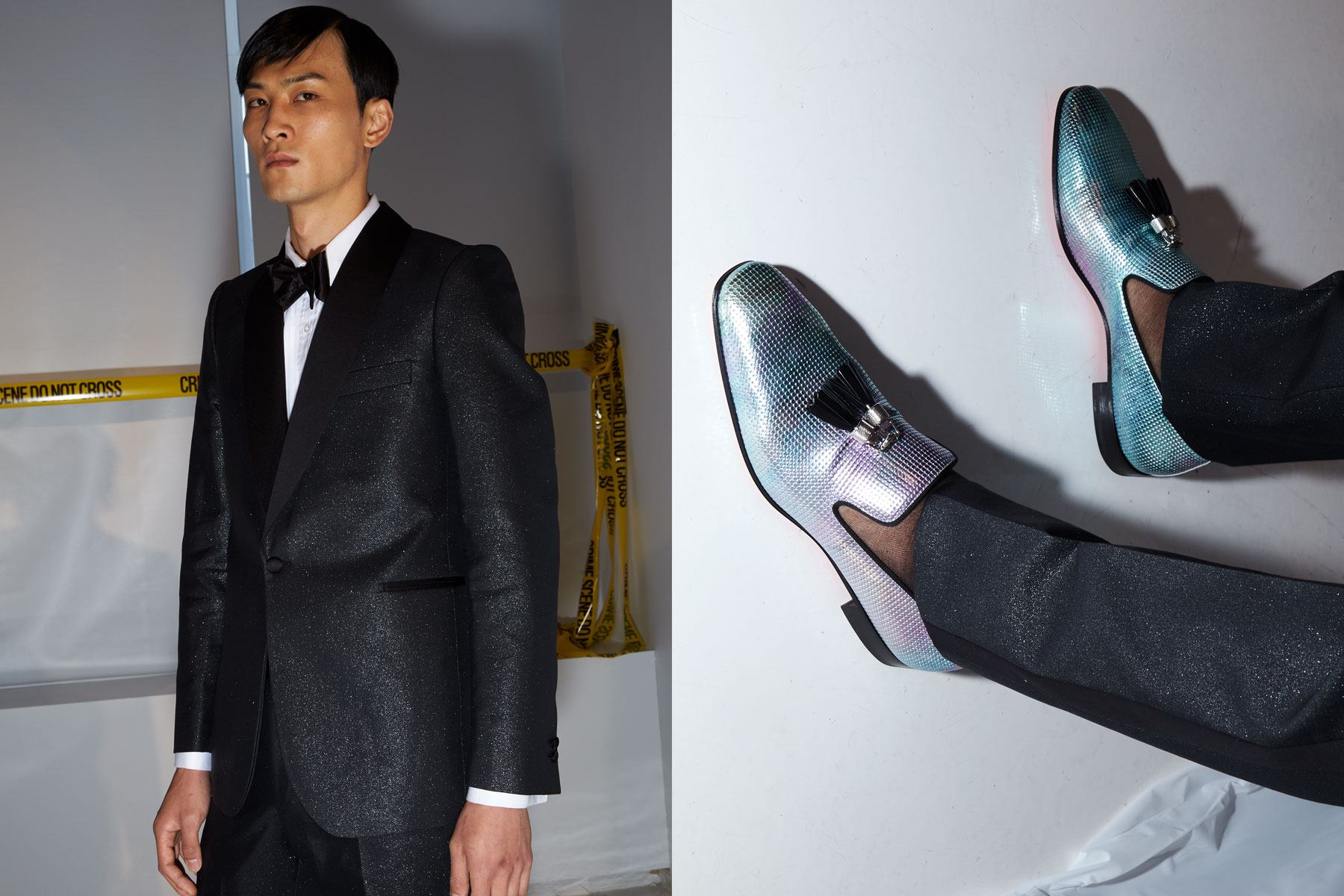 A tuxedo & Christian Louboutin loafers backstage at David Hart Spring 2020 menswear collection. Photography by Alexander Thompson for Ponyboy magazine.