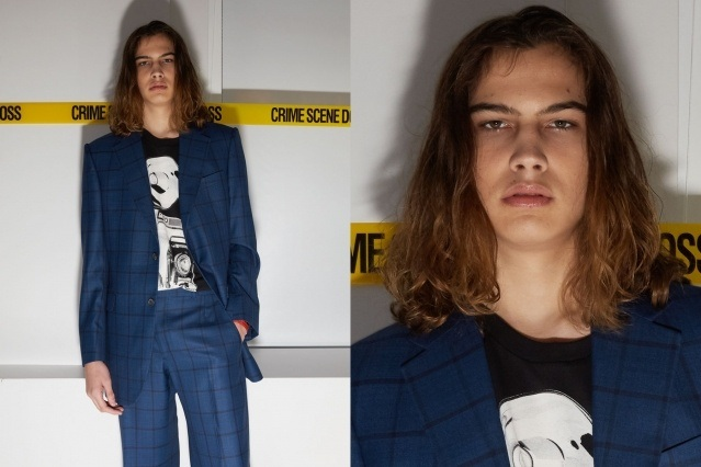 A male model photographed backstage at the David Hart Spring 2020 collection in New York City. Photography by Alexander Thompson for Ponyboy magazine.