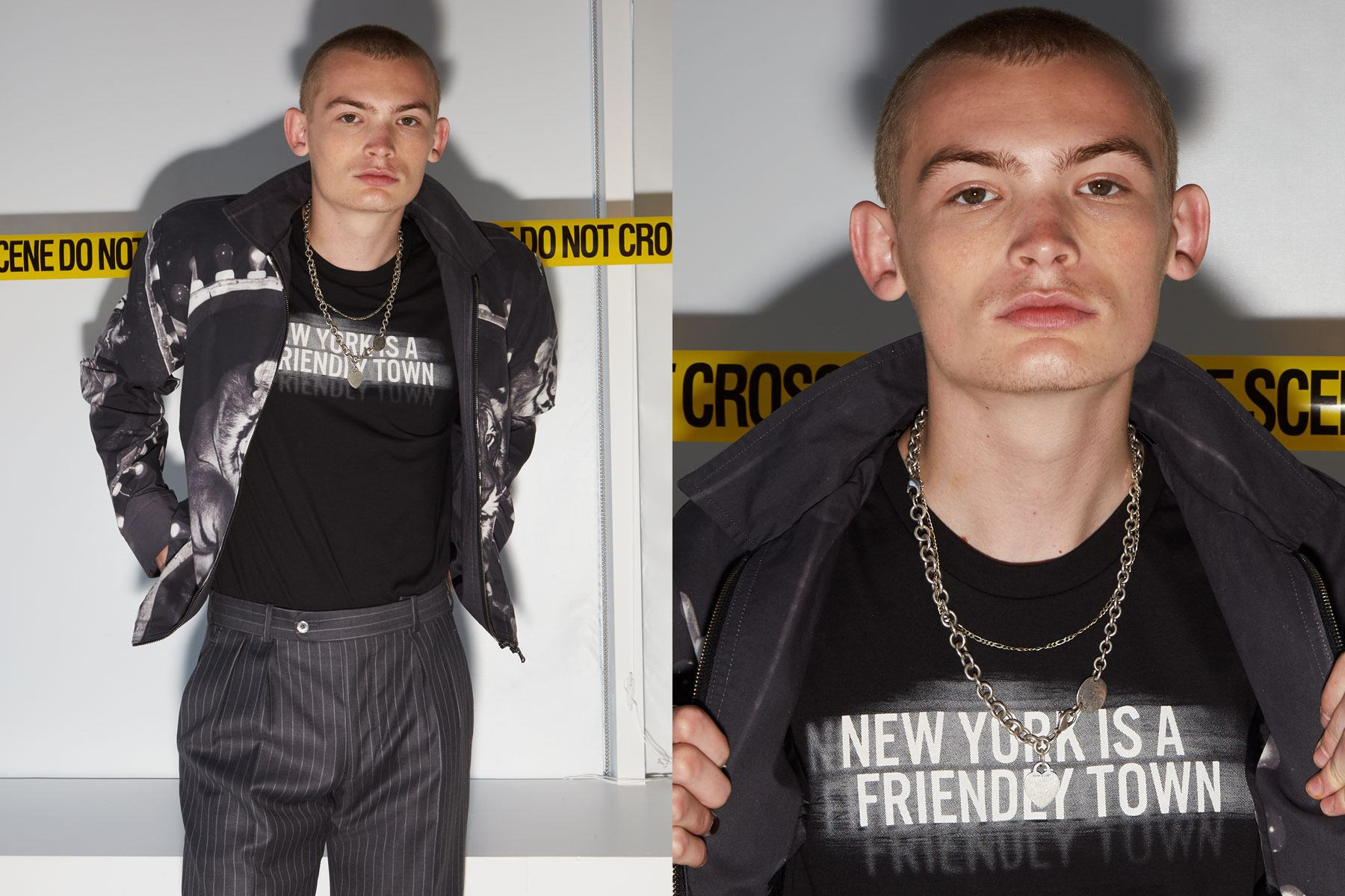 Model Braxton Caudill photographed backstage at David Hart for Spring 2020. Photography by Alexander Thompson for Ponyboy magazine.