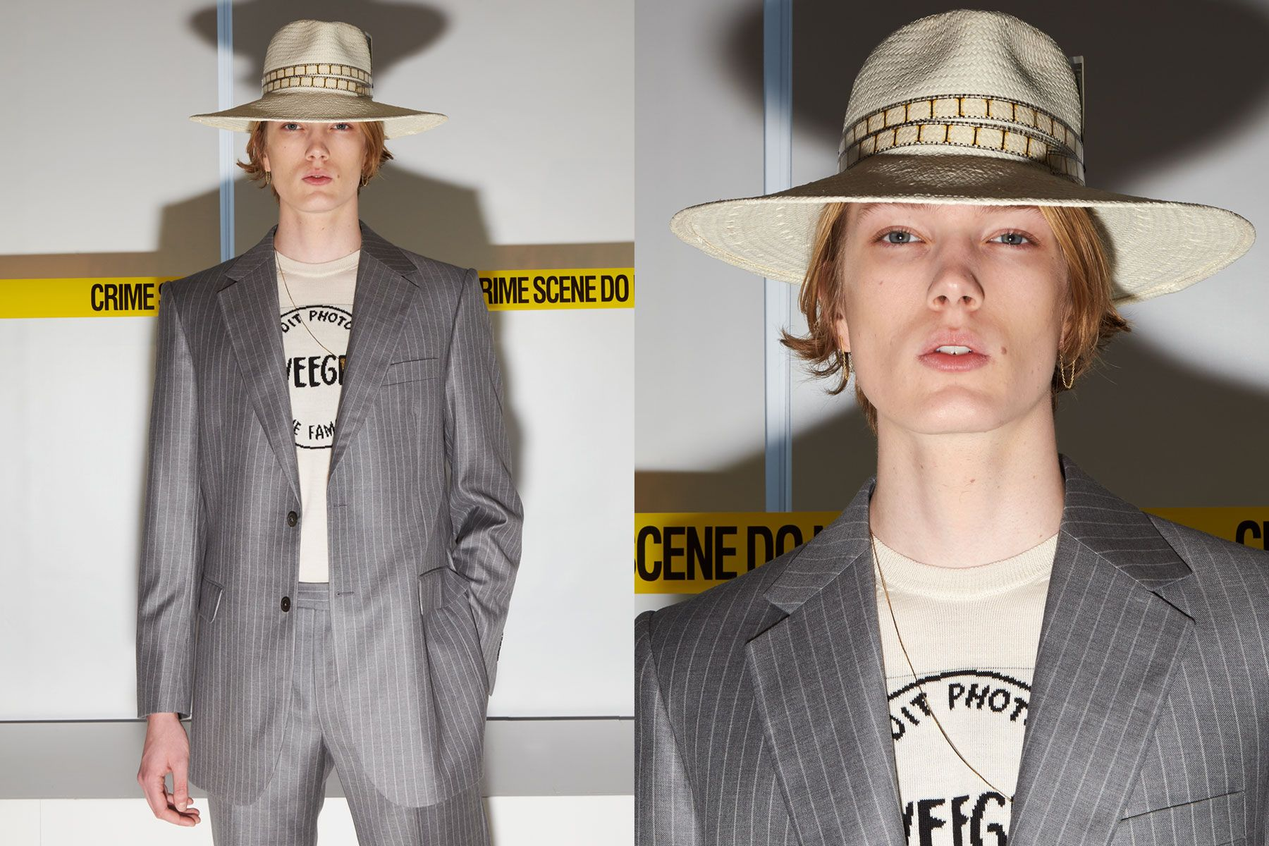 Model Colin Grams photographed backstage at the David Hart Spring 2020 collection. Photography by Alexander Thompson for Ponyboy magazine.