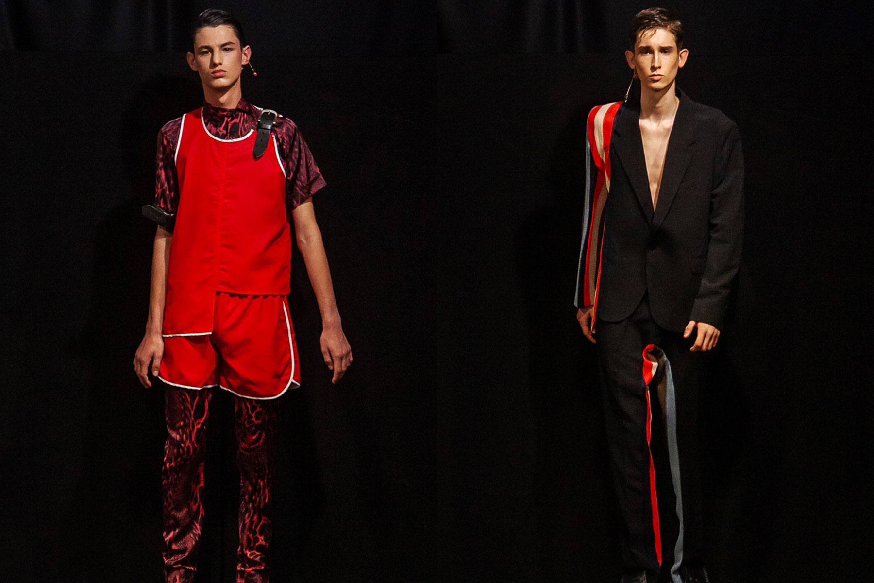 Male models photographed on the runway at Tokyo James menswear collection shown during London Fashion Week Men for Spring/Summer 2020. Ponyboy magazine.