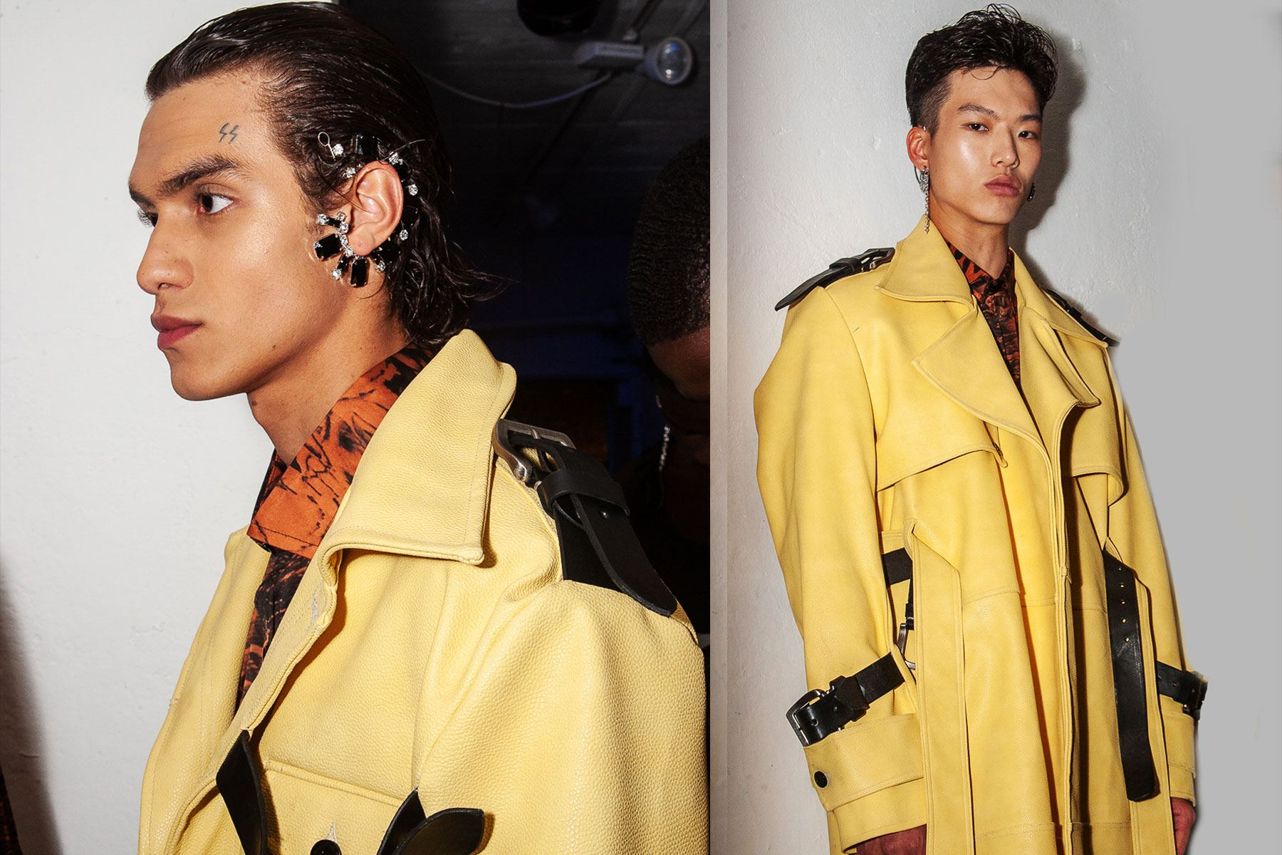 Male models snapped backstage at Tokyo James menswear collection shown during London Fashion Week Men for S/S 2020. Ponyboy magazine.
