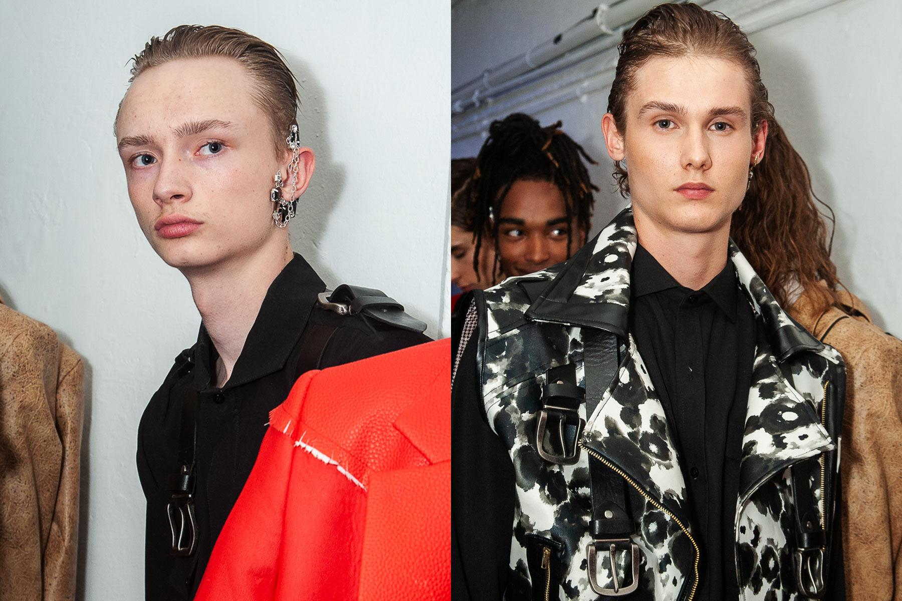 Male models backstage at Tokyo James menswear collection shown during London Fashion Week Men for Spring/Summer 2020. Ponyboy magazine.