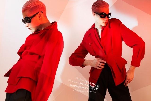 Model Austin Kairis photographed in vintage Thierry Mugler by Alexander Thompson for Ponyboy magazine.