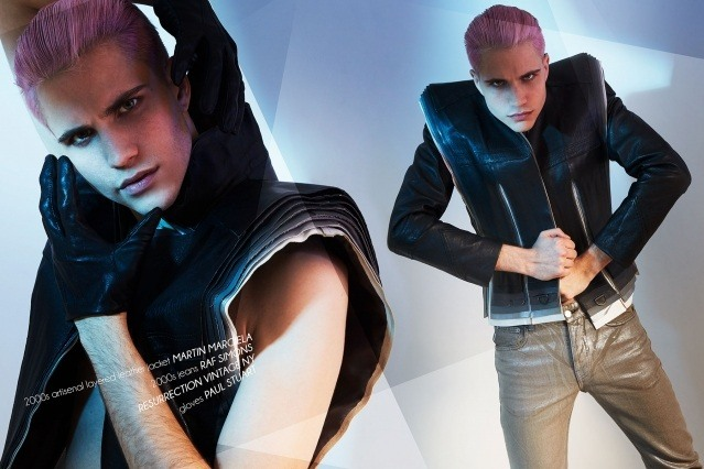 Model Austin Kairis photographed im vintage Martin Margiela by Alexander Thompson for Ponyboy magazine.